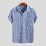 Оригинал Мужские летние 100% хлопок мульти карманы сплошной цвет рубашки