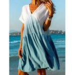 Оригинал Женский градиент с цветочным принтом V-образным вырезом с коротким рукавом Mini Платье
