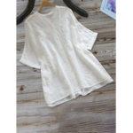 Оригинал Женская сплошная цветная вышитая хлопковая блузка на пуговицах