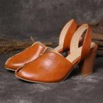 Оригинал Женская мода Soft Рыба Рот на каблуке Сандалии