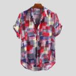Оригинал Мужские летние Colorful простые рубашки с набивным рисунком и карманами