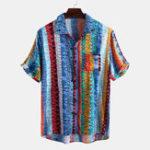 Оригинал Мужчины Colorful Гавайские рубашки с короткими рукавами в полоску Art
