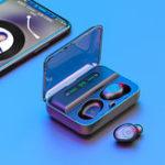 Оригинал F9 TWS Bluetooth 5.0 Графен Наушник Стерео Цифровой Дисплей Беспроводная гарнитура с аккумулятором 1200 мАч