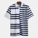 Оригинал Мужская летняя полоса Hit Color Loose Повседневные рубашки для гольфа