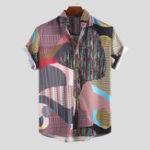Оригинал Мужчины Colorful Нерегулярные Шаблон Mix Stripe с коротким рукавом Рубашка