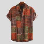Оригинал Мужская летняя этническая Colorful Шаблон Гавайские рубашки