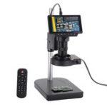 Оригинал HAYEAR 5 дюймов Экран 16MP 1080P 60FPS HDMI USB и WIFI Цифровой промышленный микроскоп камера + Настольная подставка + 100X C-mount Объектив +40 Светодиодный