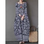 Оригинал Женская 3/4 рукава с круглым вырезом Loose Baggy Floral Maxi Платье
