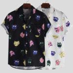 Оригинал Мужские летние рубашки с коротким рукавом Интересные мультяшные печатные рубашки