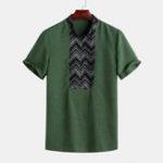 Оригинал Мужская Винтаж полоса Шаблон дышащая рубашка с воротником