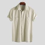 Оригинал Мужские 100% -ые хлопковые повседневные двойные карманы Свободные рубашки