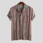 Оригинал Мужские летние этнические полосатые печатные карманные повседневные рубашки