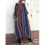 Оригинал Женская футболка с длинным рукавом Шея Maxi Платье в полоску