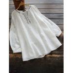Оригинал Женская ретро с круглым вырезом Цветочная вышивка Хлопковая блуза