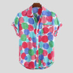 Оригинал Mens Summer Colorful Круглые рубашки с набивным рисунком