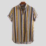 Оригинал Мужские рубашки с короткими рукавами и вертикальной полосой
