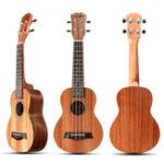 Оригинал 21 дюймов 4 струны 15 Лады Цвет дерева Красное укулеле Музыкальный инструмент с медиаторами / Веревка
