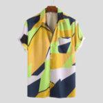 Оригинал Мужские летние рубашки с контрастными цветными принтами и контрастными рисунками