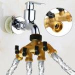 Оригинал 3/4 дюймов BSP 4-ходовой латунный Шланг кран коллектора Водоотделитель Сад Кран Коннектор Клапан управления переключателем сплиттера