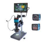 "Оригинал HAYEAR 14MP Цифровой промышленный USB-микроскоп камера 100X Zoon C-mount Объектив 4 ГБ TF карта + 7 ""дюймов LCD Монитор"