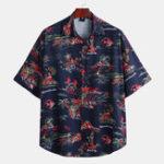 Оригинал Мужские гавайские рубашки с коротким рукавом и принтом в виде островов