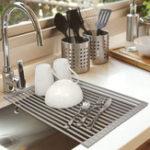 Оригинал Стеллаж для сушки посуды Roll Up NO-Slip Кухонная многоцелевая раковина с силиконовым покрытием Складная сливная полка