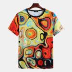 Оригинал Mens Summer Colorful Печатный экипаж Шея Повседневные рубашки