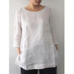 Оригинал Женщины хлопок чистый цвет O-образным вырезом с рукавами 3/4 рубашки карманы