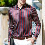 Оригинал МужскаяцветочнаяпечатьЛетняямодас длинным рукавом в полоску Рубашка