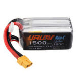 Оригинал URUAV Graphene-X V1.0 4S 14,8 В 1500 мАч 100C Быстрая зарядка Lipo Батарея XT60 Li Батарея для FPV Racing RC Дрон