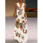 Оригинал Винтаж Женское V-образным вырезом без рукавов с цветочным принтом Maxi Платье