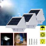 Оригинал На солнечных батареях 4 LED Настенный светильник На открытом воздухе Сад Ограждение Патио Дверной фонарь Лампа