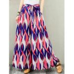 Оригинал Широкие брюки Женское с цветочным эластичным поясом Брюки