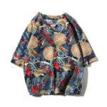 Оригинал Mens Винтаж Этнический китайский стиль Шаблон Льняные футболки