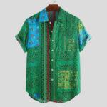 Оригинал Мужские летние этнические цветочные набивные дышащие повседневные рубашки