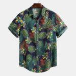 Оригинал Mens Summer Tropical Печатный Свободный с коротким рукавом Повседневная Рубашка