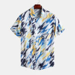 Оригинал Mens Summer Fashion Painted Printing Short Sleeve Shirts
