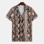 Оригинал Рубашки Revere с леопардовым принтом и короткими рукавами для мужчин