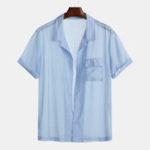 Оригинал Мужские летние дышащие практичные карманные рубашки Casaul