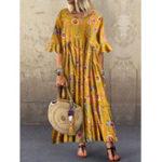 Оригинал Половина рукава O-образный вырез плиссированный цветочный принт Винтаж Maxi Платье