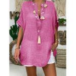 Оригинал Pure Color V-образным вырезом на пуговицах с коротким рукавом Туника повседневная блуза