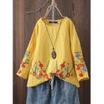 Оригинал Женская хлопок O-образным вырезом Цветочная вышивка Винтаж Блуза