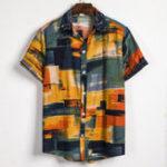 Оригинал Мужские модные клетчатые рубашки с воротником-стойкой Colorful