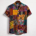 Оригинал Mens Ethnic Style Patchwork Floral Printing Henley Shirts