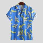 Оригинал Мужские банановые рубашки с коротким рукавом с банановым принтом