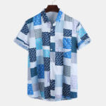 Оригинал Рубашки с короткими рукавами и принтом Men Square