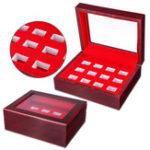 Оригинал 12 отверстий для дерева Коробка For Championship Ring Коллекция Дисплей Красный Черный