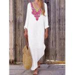 Оригинал Женская футболка с длинным рукавом с длинным рукавом с цветочным принтом Maxi Платье