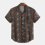Оригинал Мужские этнические 100% полиэстер с набивным рисунком Кнопки Fly Повседневные рубашки