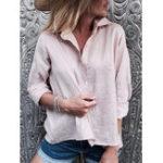 Оригинал Сплошной цвет кнопки с длинным рукавом повседневная блузка